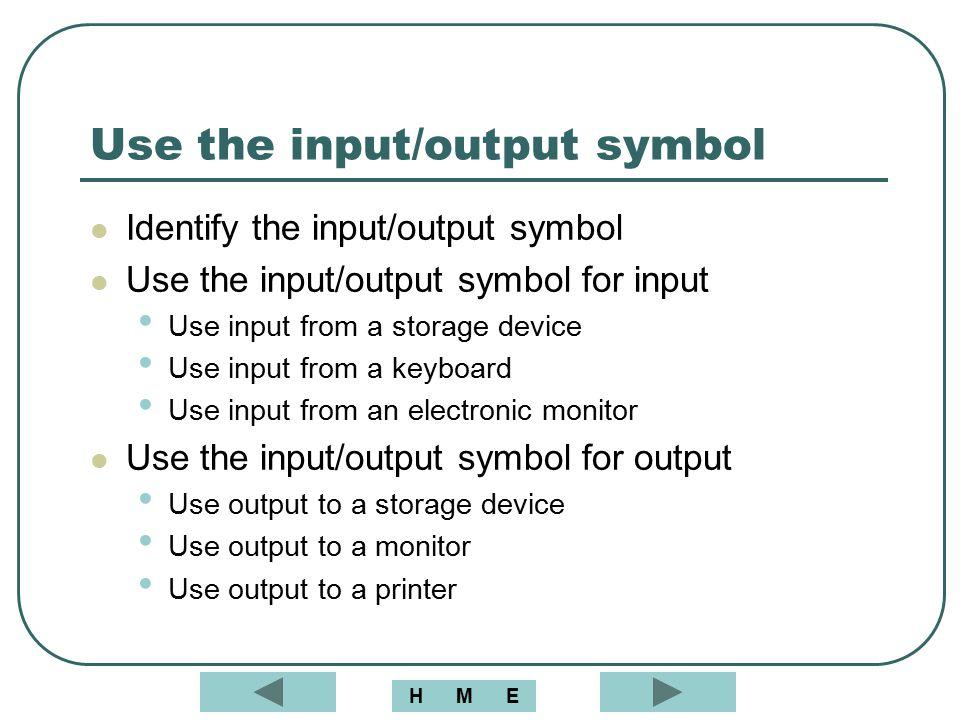 Use the input/output symbol Identify the input/output symbol Use the input/output symbol for input Use input from a storage device Use input from a ke