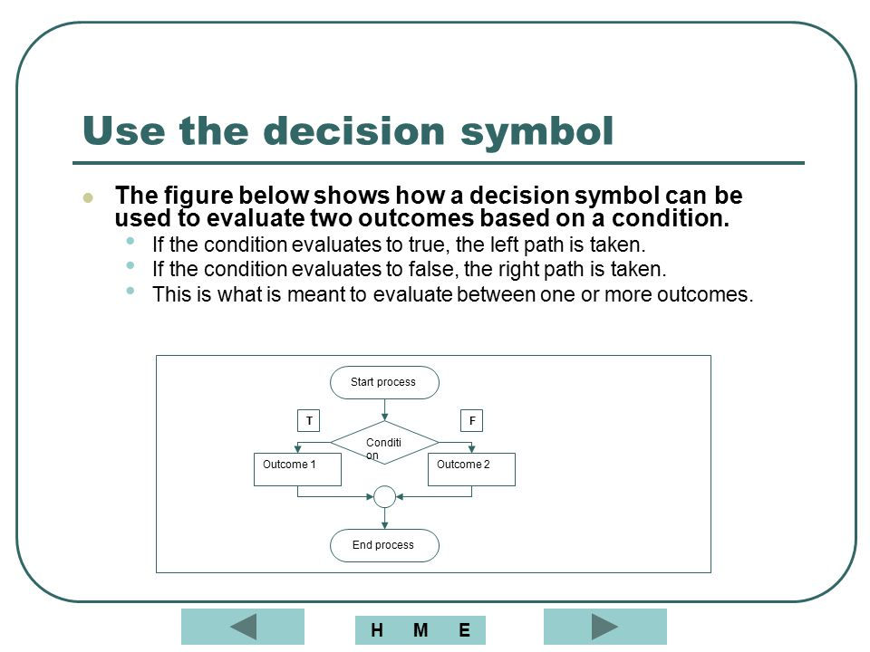 Use the decision symbol The figure below shows how a decision symbol can be used to evaluate two outcomes based on a condition. If the condition evalu