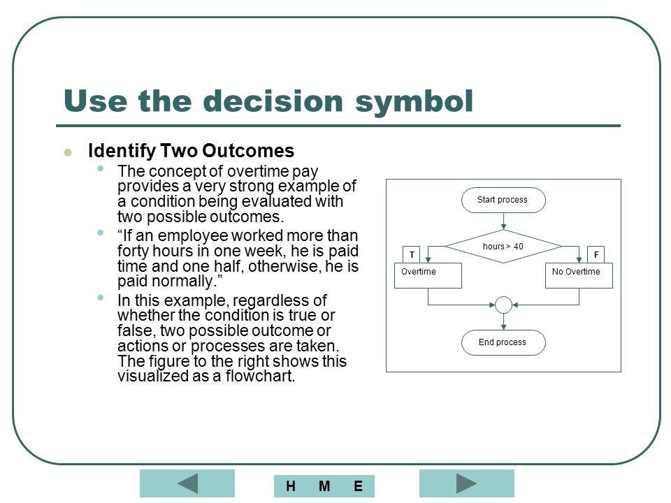 Use the decision symbol Identify Two Outcomes The concept of overtime pay provides a very strong example of a condition being evaluated with two possi