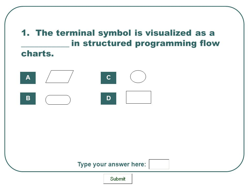1. The terminal symbol is visualized as a ___________ in structured programming flow charts. A B C D Type your answer here: