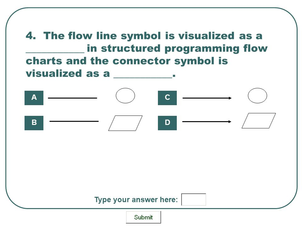 4. The flow line symbol is visualized as a ___________ in structured programming flow charts and the connector symbol is visualized as a ___________.