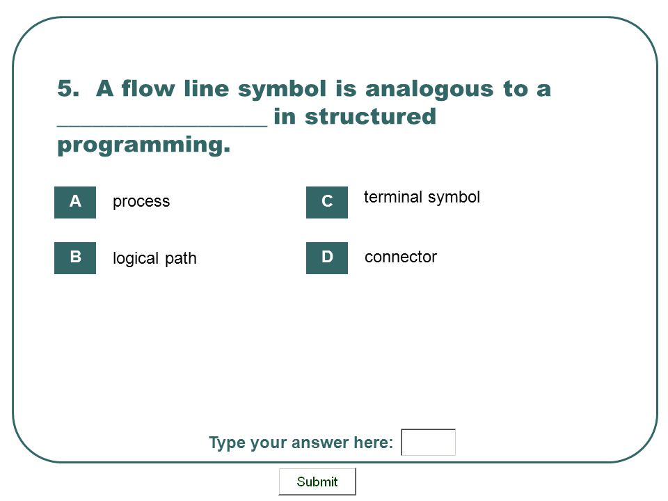 5. A flow line symbol is analogous to a __________________ in structured programming. process logical path terminal symbol connector A B C D Type your