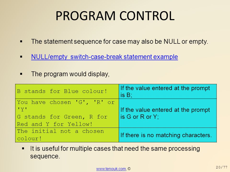 PROGRAM CONTROL  The statement sequence for case may also be NULL or empty.  NULL/empty switch-case-break statement example NULL/empty switch-case-b