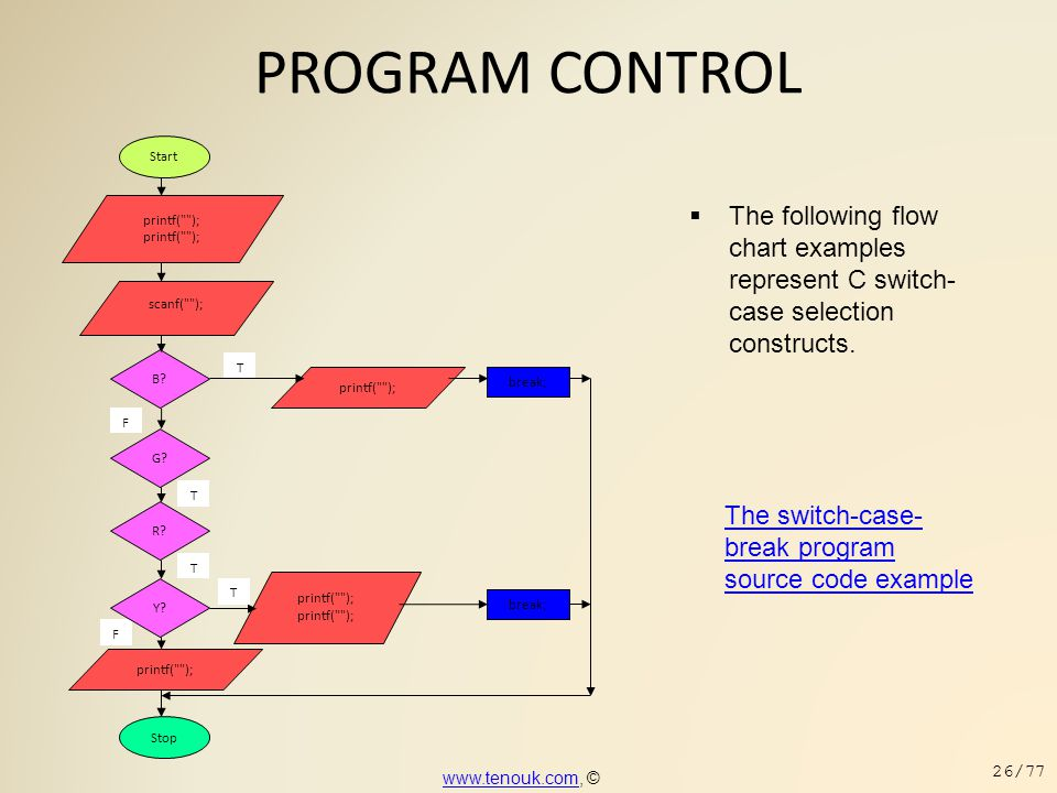 PROGRAM CONTROL  The following flow chart examples represent C switch- case selection constructs. The switch-case- break program source code example