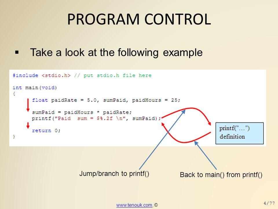 PROGRAM CONTROL  Take a look at the following example www.tenouk.comwww.tenouk.com, © 4/77 Jump/branch to printf() Back to main() from printf()