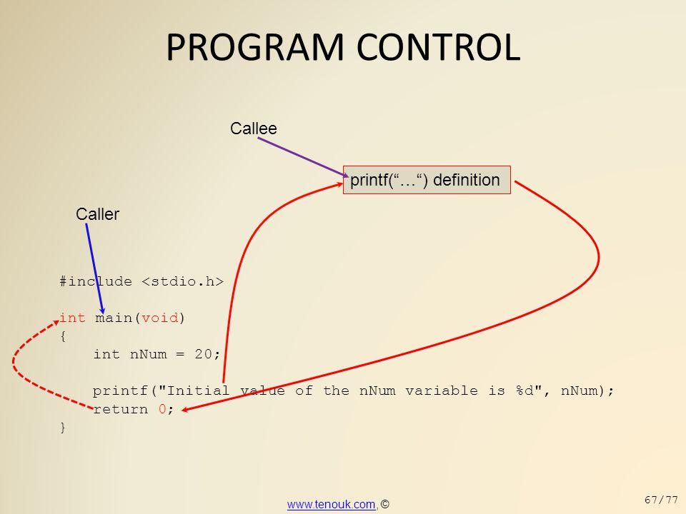 PROGRAM CONTROL #include int main(void) { int nNum = 20; printf(