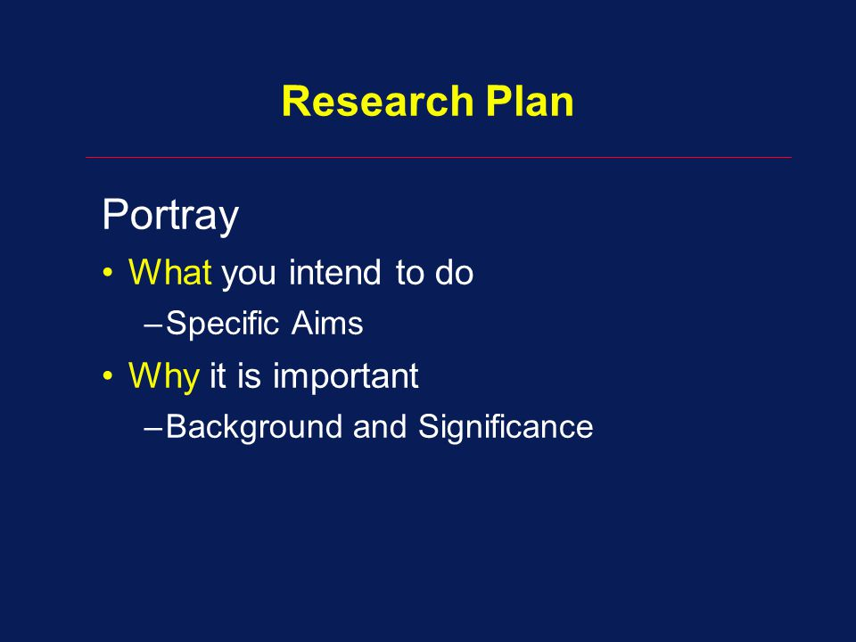 Research Plan Portray What you intend to do –Specific Aims Why it is important –Background and Significance
