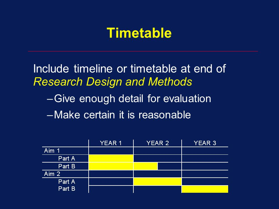 Timetable Include timeline or timetable at end of Research Design and Methods –Give enough detail for evaluation –Make certain it is reasonable