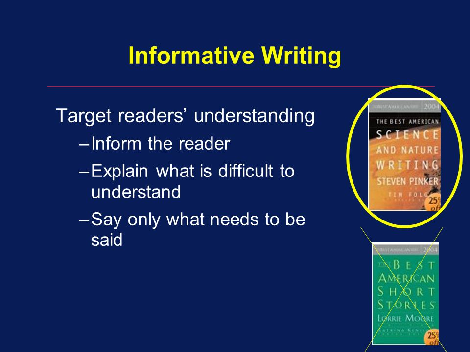 Informative Writing Target readers' understanding –Inform the reader –Explain what is difficult to understand –Say only what needs to be said