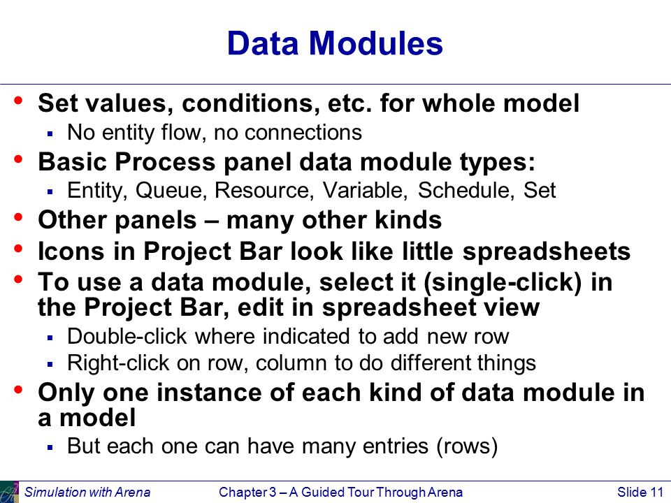 Simulation with ArenaChapter 3 – A Guided Tour Through ArenaSlide 11 Data Modules Set values, conditions, etc. for whole model  No entity flow, no co