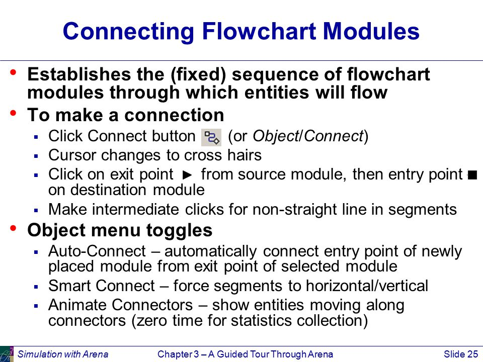 Simulation with ArenaChapter 3 – A Guided Tour Through ArenaSlide 25 Connecting Flowchart Modules Establishes the (fixed) sequence of flowchart modules through which entities will flow To make a connection  Click Connect button (or Object/Connect)  Cursor changes to cross hairs  Click on exit point from source module, then entry point on destination module  Make intermediate clicks for non-straight line in segments Object menu toggles  Auto-Connect – automatically connect entry point of newly placed module from exit point of selected module  Smart Connect – force segments to horizontal/vertical  Animate Connectors – show entities moving along connectors (zero time for statistics collection)
