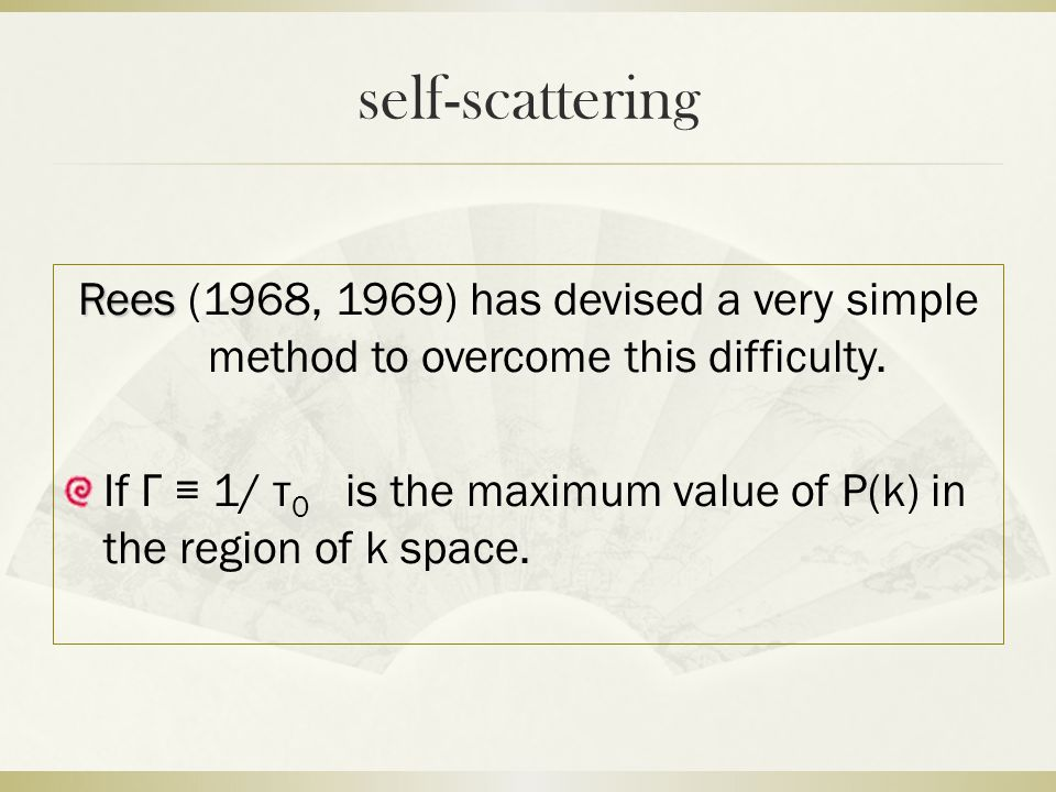 self-scattering Rees Rees (1968, 1969) has devised a very simple method to overcome this difficulty.