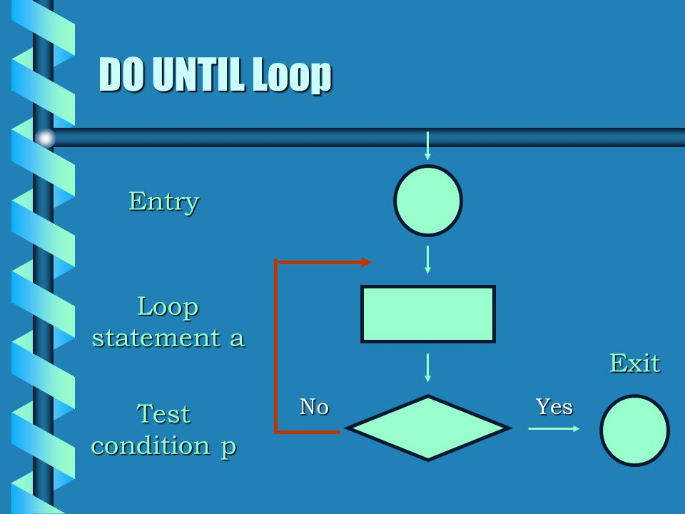 DO UNTIL Loop Loop statement a NoYes Entry Test condition p Exit