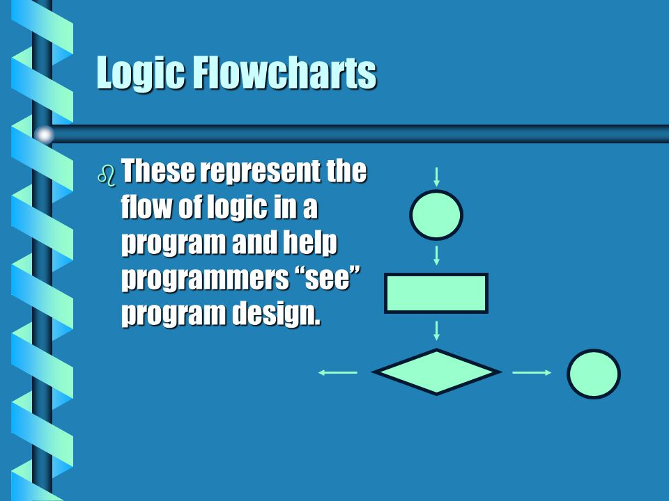 "Logic Flowcharts b These represent the flow of logic in a program and help programmers ""see"" program design."