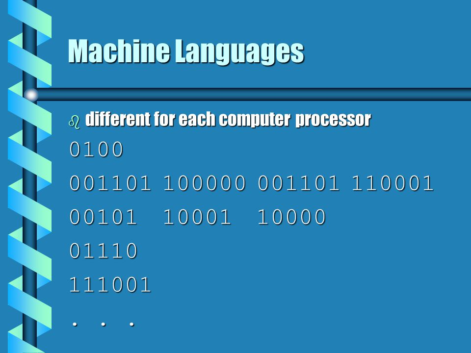 Machine Languages b different for each computer processor 0100 001101100000001101110001 001011000110000 01110111001...