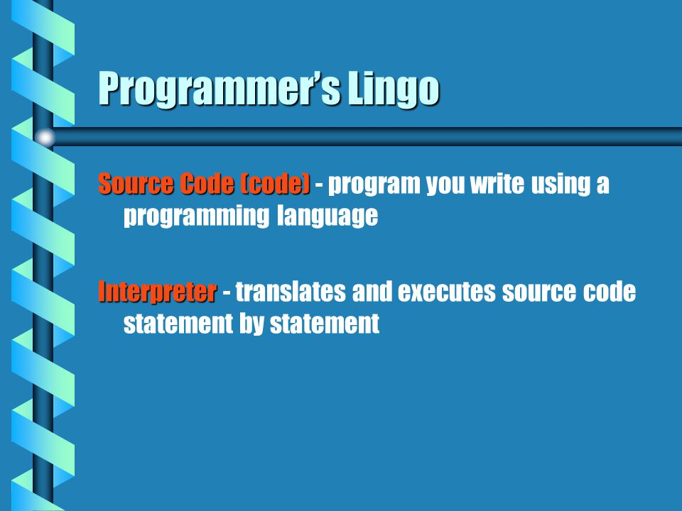 Programmer's Lingo Source Code (code) Source Code (code) - program you write using a programming language Interpreter Interpreter - translates and exe