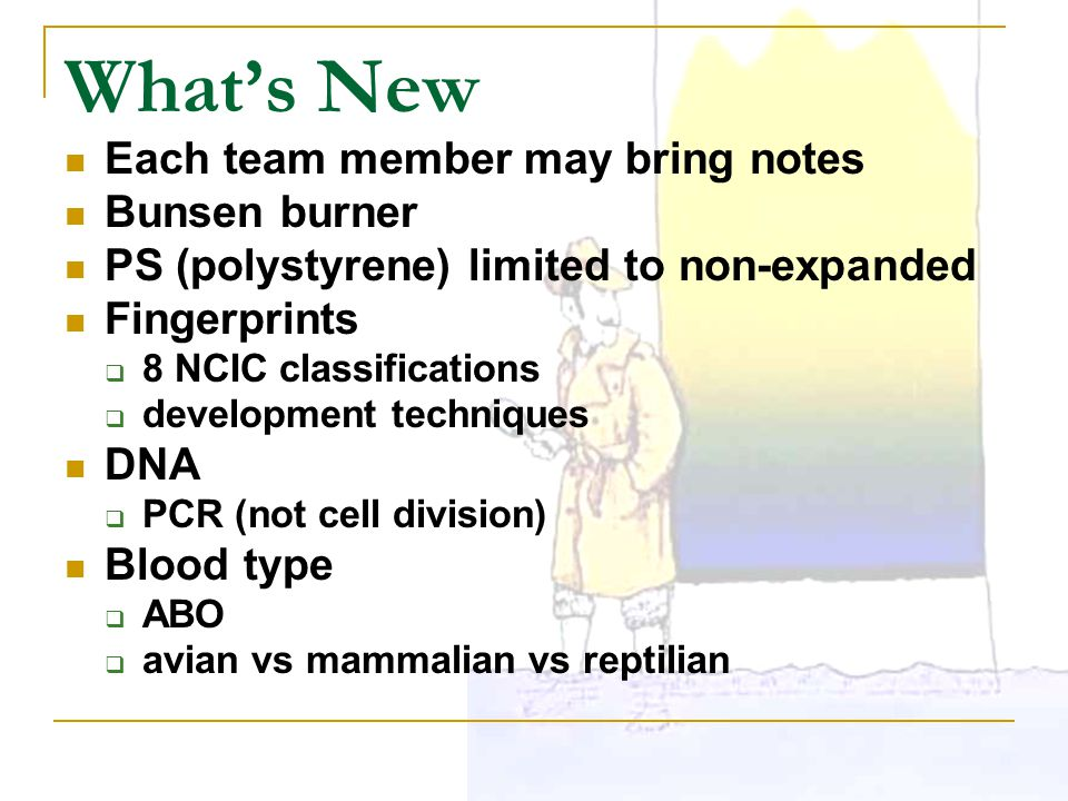 What's New Each team member may bring notes Bunsen burner PS (polystyrene) limited to non-expanded Fingerprints  8 NCIC classifications  development