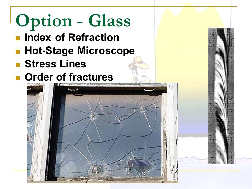 Option - Glass Index of Refraction Hot-Stage Microscope Stress Lines Order of fractures