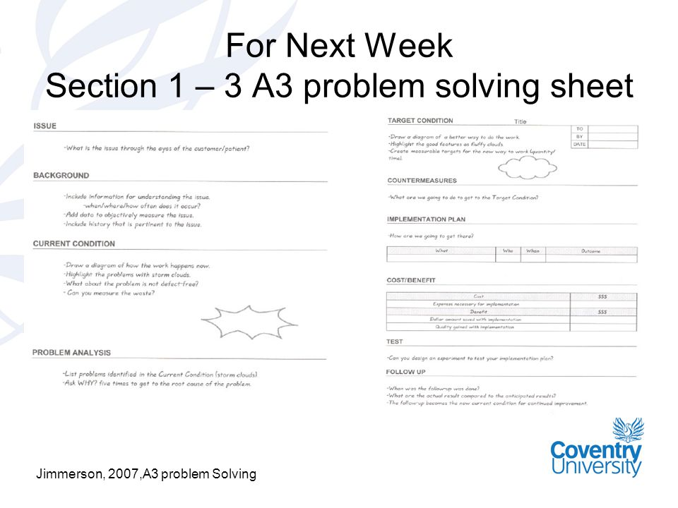 For Next Week Section 1 – 3 A3 problem solving sheet Jimmerson, 2007,A3 problem Solving