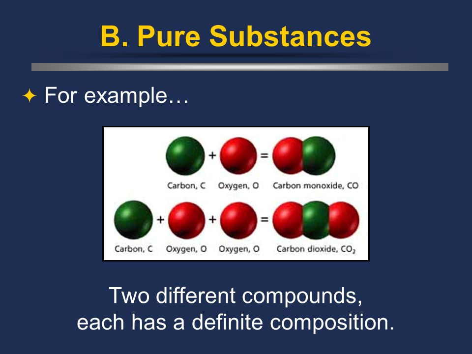 B. Pure Substances  For example… Two different compounds, each has a definite composition.