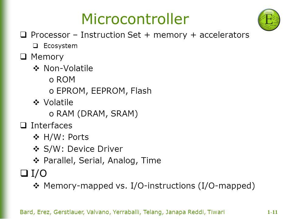 1-11 Bard, Erez, Gerstlauer, Valvano, Yerraballi, Telang, Janapa Reddi, Tiwari Microcontroller  Processor – Instruction Set + memory + accelerators 