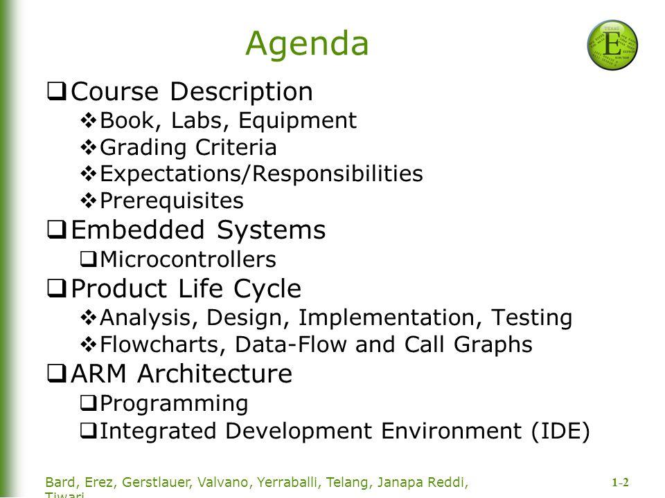1-2 Bard, Erez, Gerstlauer, Valvano, Yerraballi, Telang, Janapa Reddi, Tiwari Agenda  Course Description  Book, Labs, Equipment  Grading Criteria 