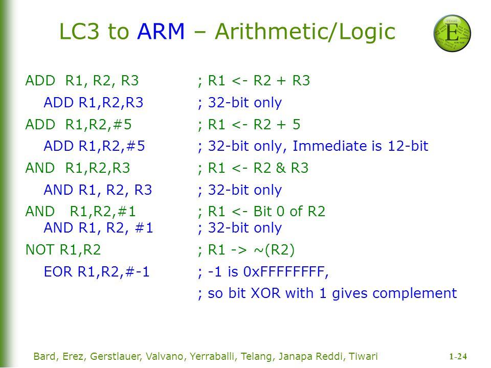 1-24 Bard, Erez, Gerstlauer, Valvano, Yerraballi, Telang, Janapa Reddi, Tiwari LC3 to ARM – Arithmetic/Logic ADD R1, R2, R3; R1 <- R2 + R3 ADD R1,R2,R