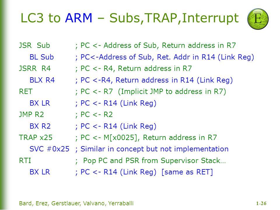 1-26 Bard, Erez, Gerstlauer, Valvano, Yerraballi LC3 to ARM – Subs,TRAP,Interrupt JSR Sub; PC <- Address of Sub, Return address in R7 BL Sub; PC<-Addr