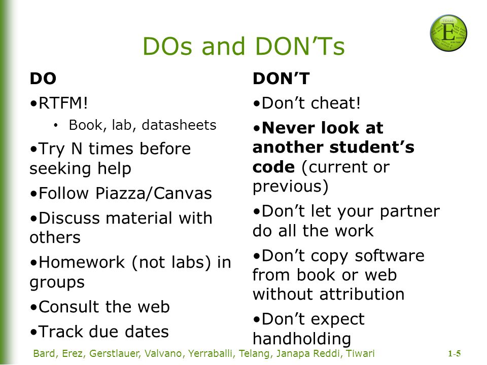 1-5 DOs and DON'Ts DO RTFM! Book, lab, datasheets Try N times before seeking help Follow Piazza/Canvas Discuss material with others Homework (not labs