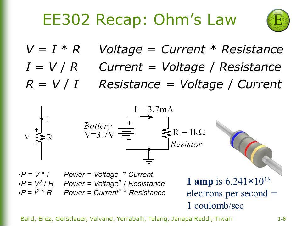 1-8 Bard, Erez, Gerstlauer, Valvano, Yerraballi, Telang, Janapa Reddi, Tiwari EE302 Recap: Ohm's Law V = I * R Voltage = Current * Resistance I = V /
