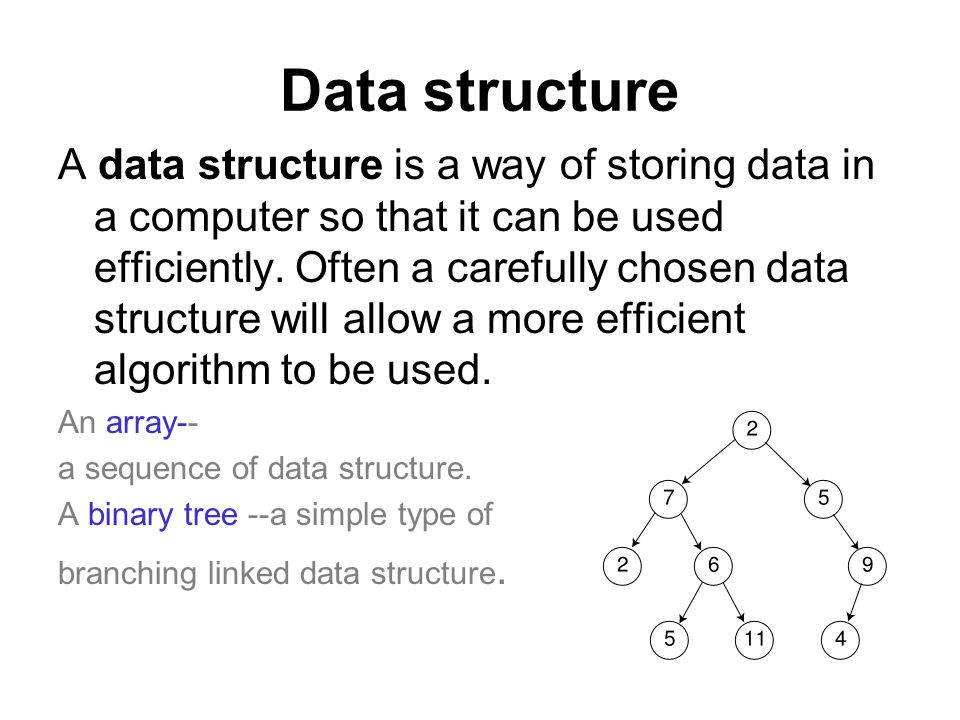 Data structure A data structure is a way of storing data in a computer so that it can be used efficiently. Often a carefully chosen data structure wil