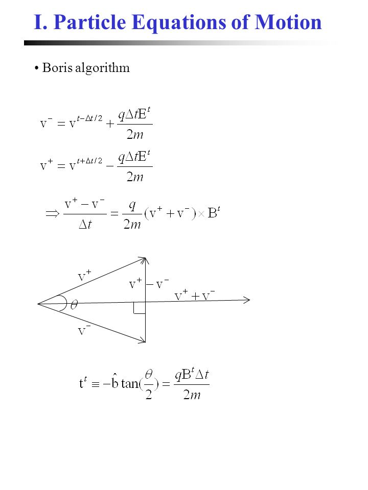 I. Particle Equations of Motion Boris algorithm