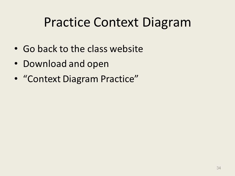Practice Context Diagram Go back to the class website Download and open Context Diagram Practice 34