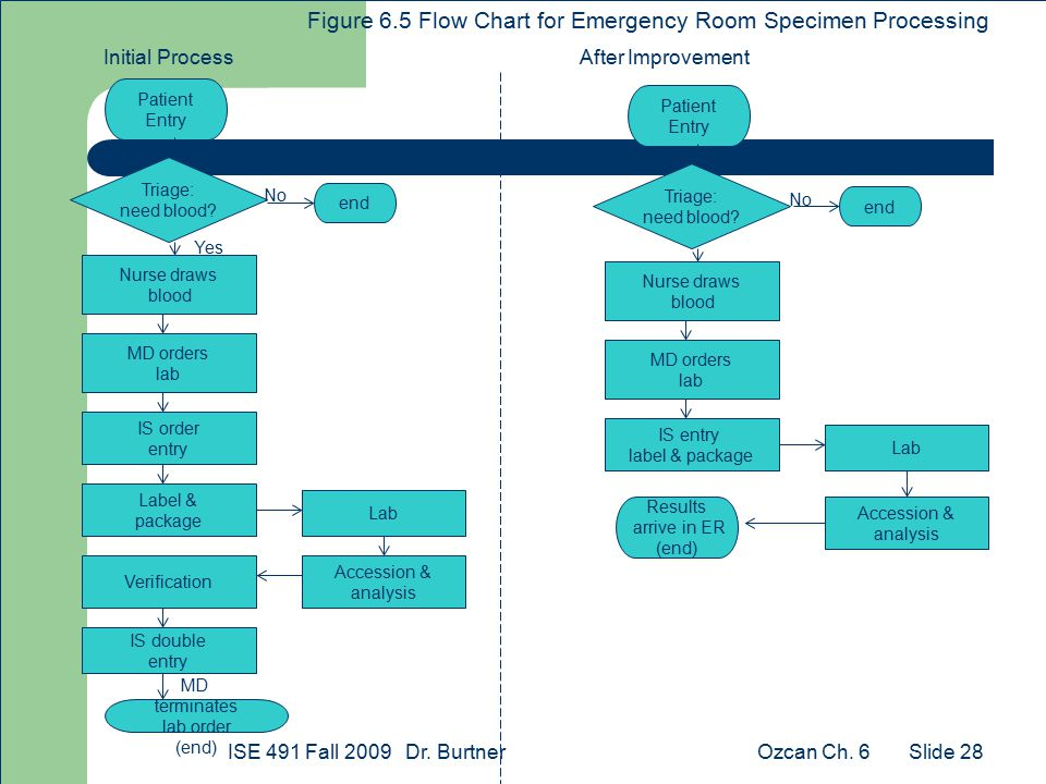 Ozcan Ch. 6ISE 491 Fall 2009 Dr. Burtner Slide 28 Patient Entry Figure 6.5 Flow Chart for Emergency Room Specimen Processing Triage: need blood? Nurse