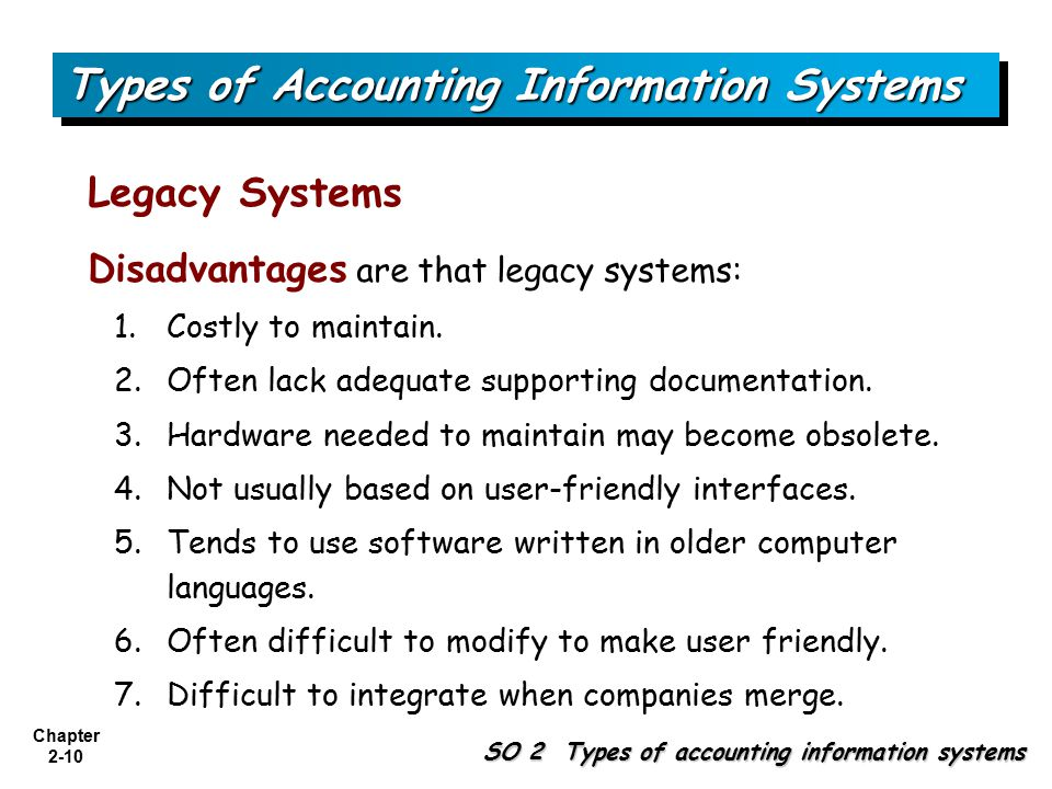 Chapter 2-10 SO 2 Types of accounting information systems Types of Accounting Information Systems Legacy Systems Disadvantages are that legacy systems: 1.Costly to maintain.