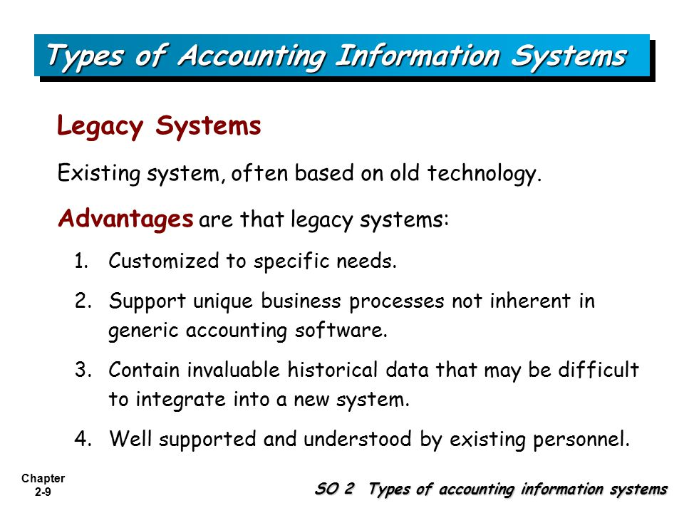 Chapter 2-9 SO 2 Types of accounting information systems Types of Accounting Information Systems Legacy Systems Existing system, often based on old technology.