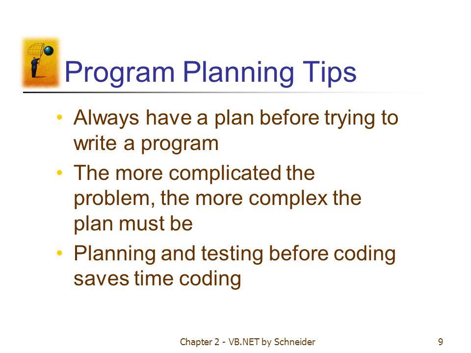 Chapter 2 - VB.NET by Schneider10 Program development cycle 1.