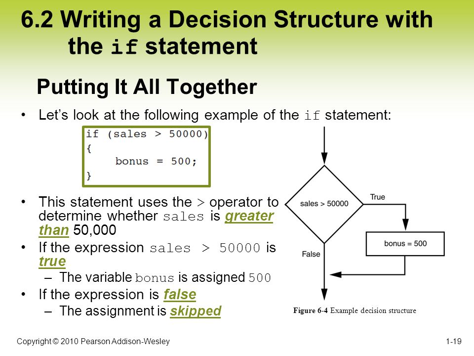 Copyright © 2010 Pearson Addison-Wesley 6.2 Writing a Decision Structure with the if statement Let's look at the following example of the if statement