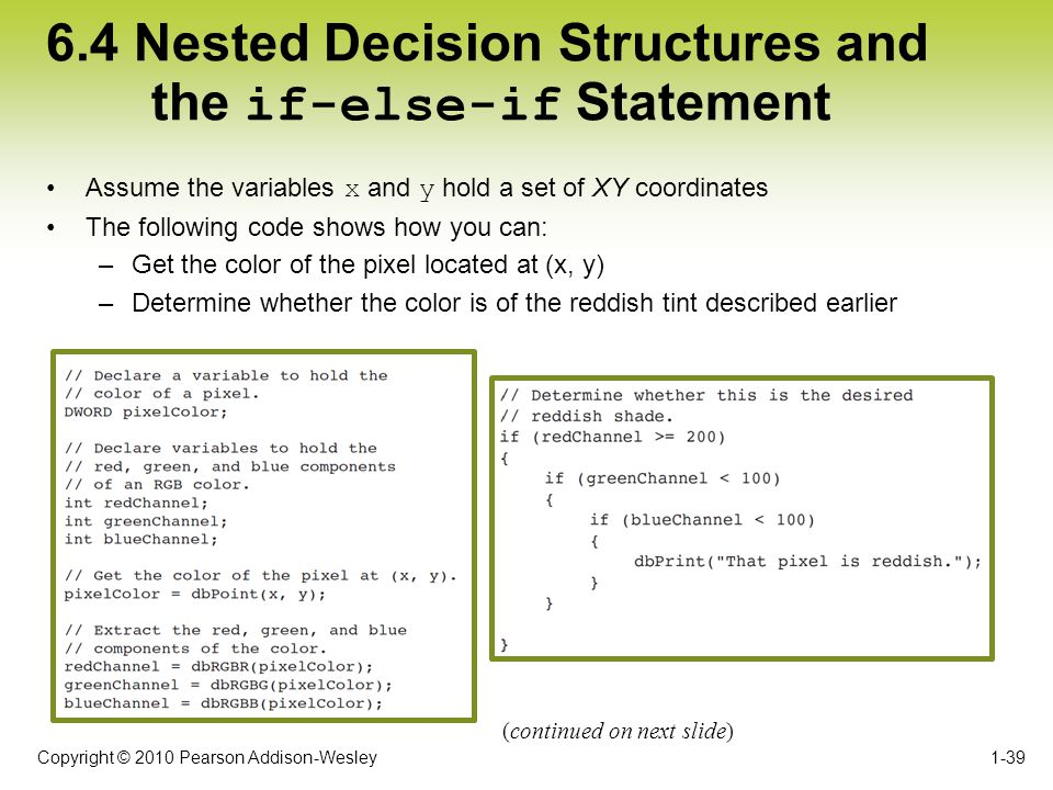 Copyright © 2010 Pearson Addison-Wesley 6.4 Nested Decision Structures and the if-else-if Statement Assume the variables x and y hold a set of XY coor