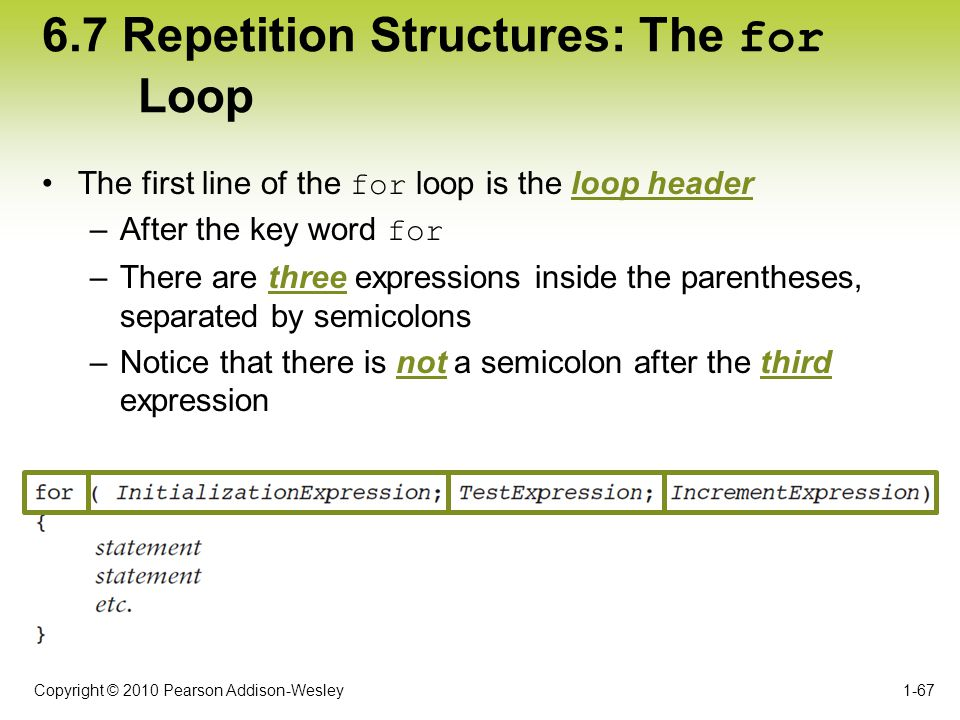 Copyright © 2010 Pearson Addison-Wesley 6.7 Repetition Structures: The for Loop The first line of the for loop is the loop header –After the key word
