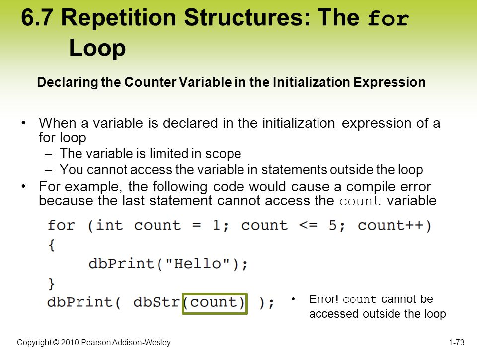 Copyright © 2010 Pearson Addison-Wesley 6.7 Repetition Structures: The for Loop When a variable is declared in the initialization expression of a for