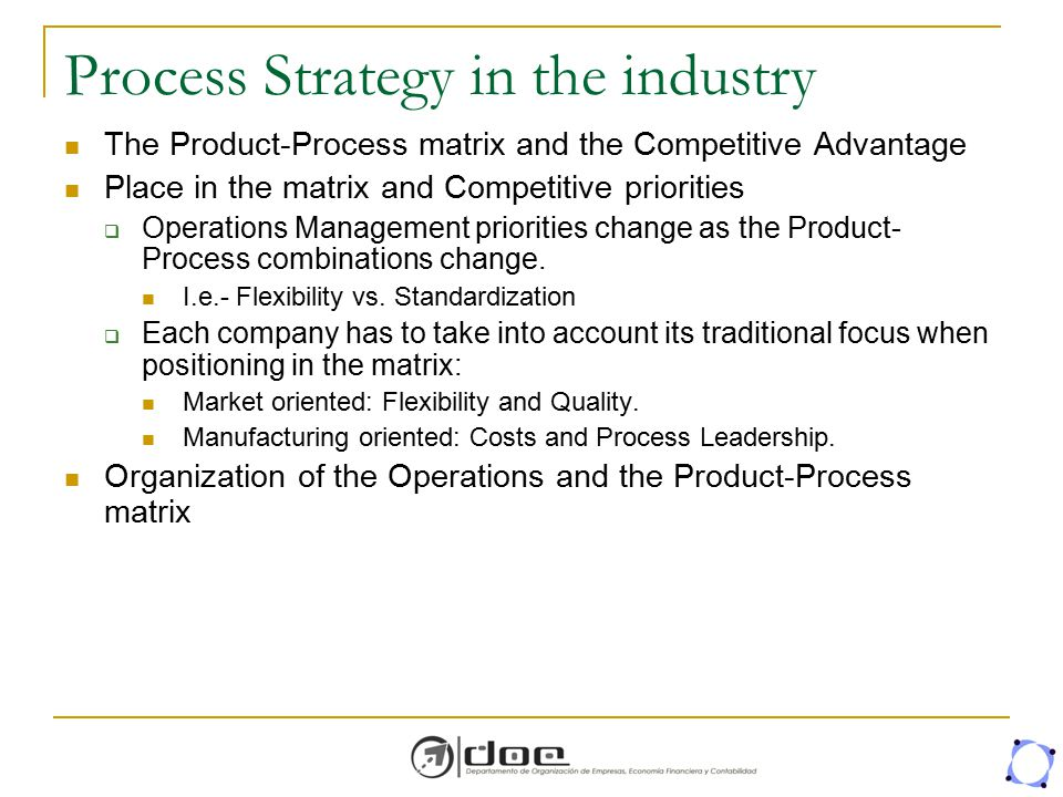 Process Strategy in the industry The Product-Process matrix and the Competitive Advantage Place in the matrix and Competitive priorities  Operations