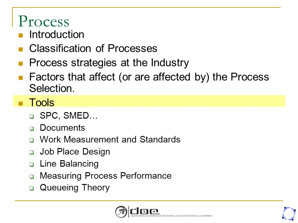 Process Introduction Classification of Processes Process strategies at the Industry Factors that affect (or are affected by) the Process Selection. To