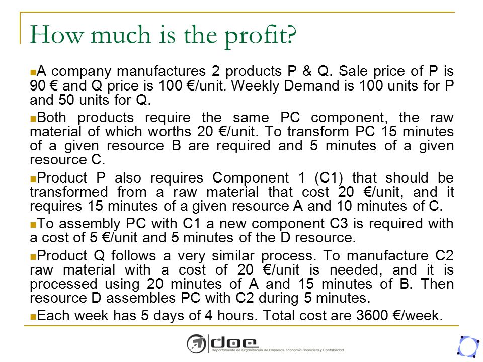 How much is the profit? A company manufactures 2 products P & Q. Sale price of P is 90 € and Q price is 100 €/unit. Weekly Demand is 100 units for P a