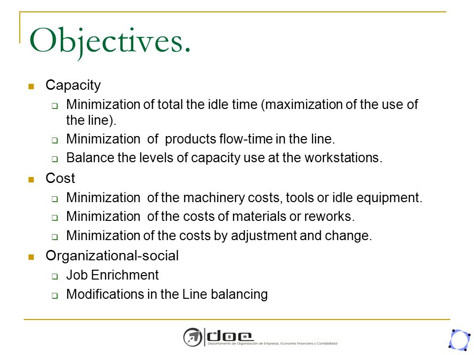 Objectives. Capacity  Minimization of total the idle time (maximization of the use of the line).  Minimization of products flow-time in the line. 