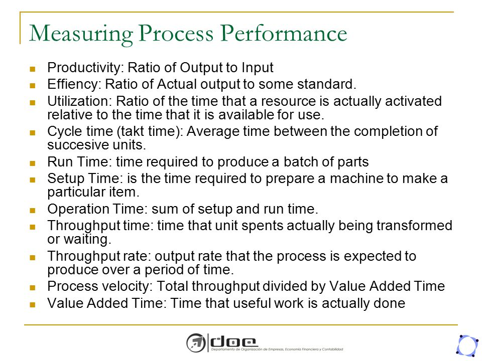 Measuring Process Performance Productivity: Ratio of Output to Input Effiency: Ratio of Actual output to some standard. Utilization: Ratio of the time