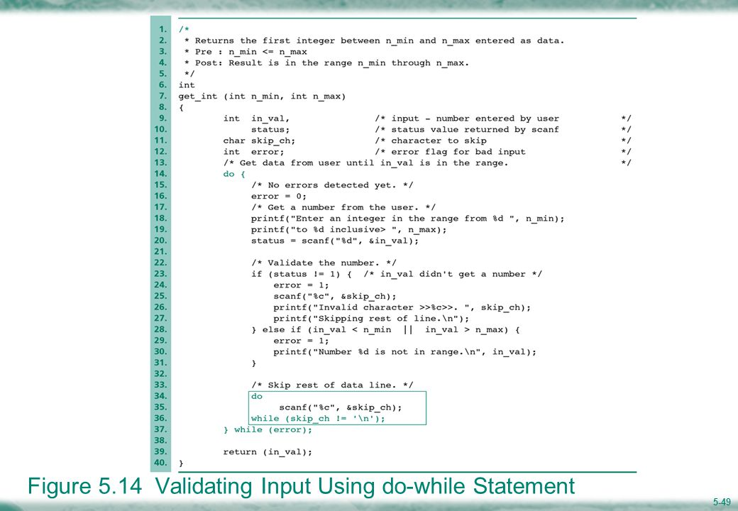 5-49 Figure 5.14 Validating Input Using do-while Statement