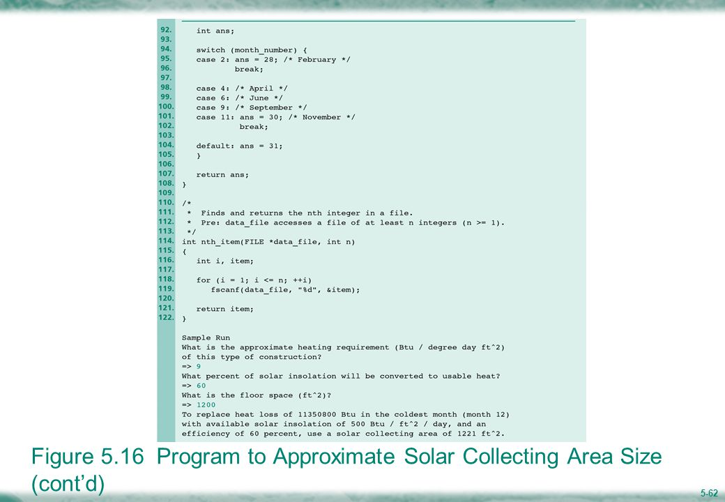 5-62 Figure 5.16 Program to Approximate Solar Collecting Area Size (cont'd)