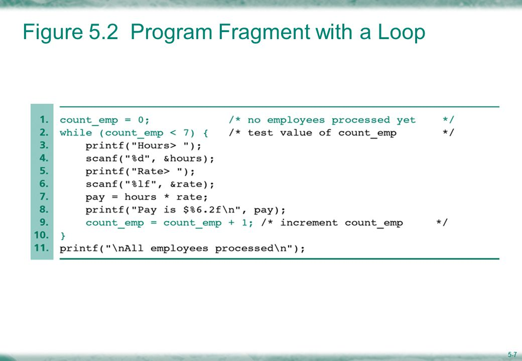 5-7 Figure 5.2 Program Fragment with a Loop
