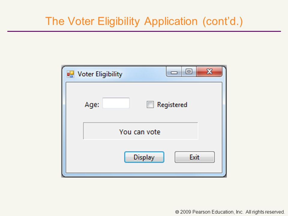  2009 Pearson Education, Inc. All rights reserved. The Voter Eligibility Application (cont'd.)